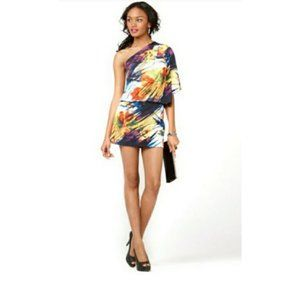 Jessica Simpson One Shoulder Abstract Mini Dress
